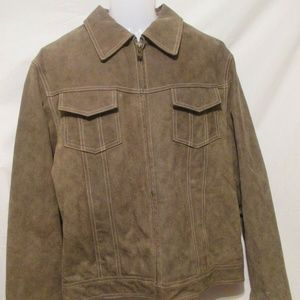 GUESS Lined Leather Jacket Large Brown Zip Front